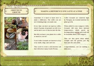 Brochure for coffee grounds for compost and the garden