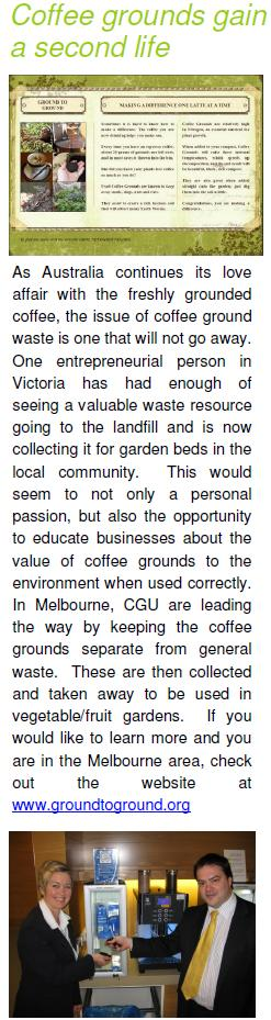Coffee Grounds article in Sodexo ecovillage