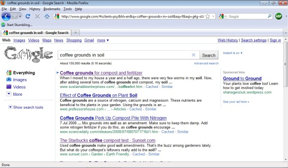 Coffee grounds appearing on google for ground to ground