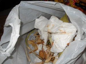 Bag of food scraps in the kitchen