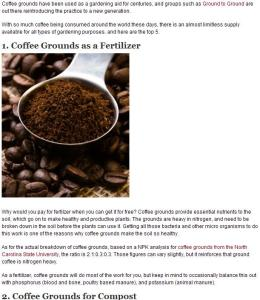 post on top 5 uses for spent coffee grounds