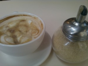 a cafe latte prepared