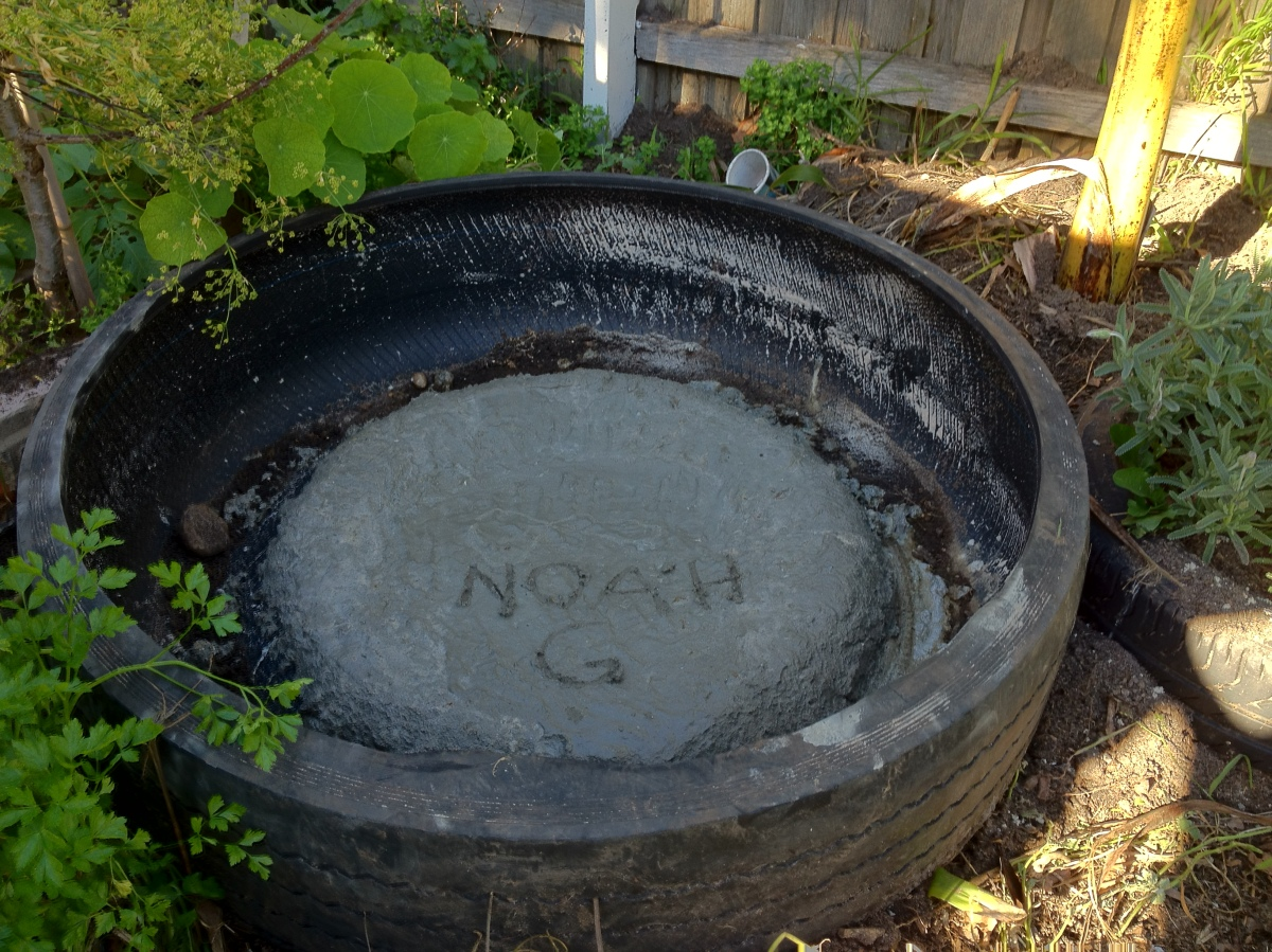 pond made from a bus tire