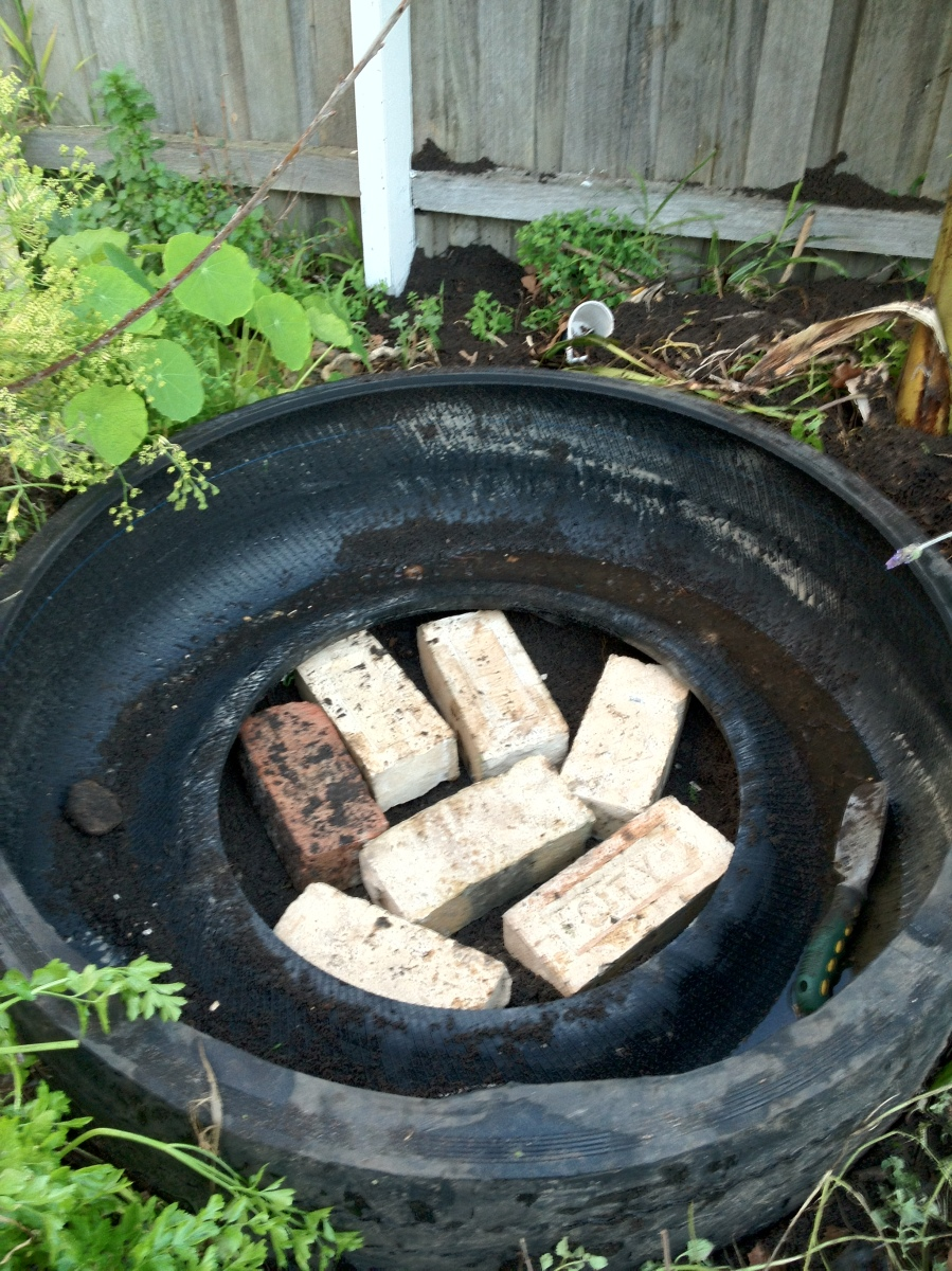 bricks fill middle of tire