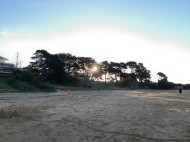 cowes beach as sun goes down