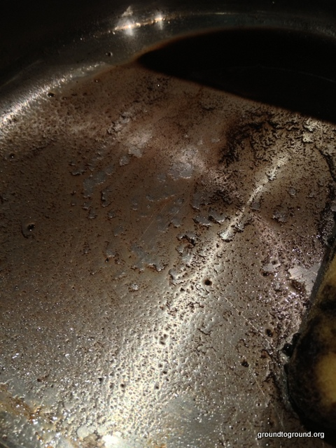 coffee grounds in pan