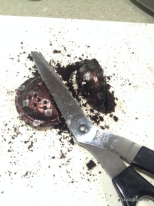 scissors coffee grounds pod