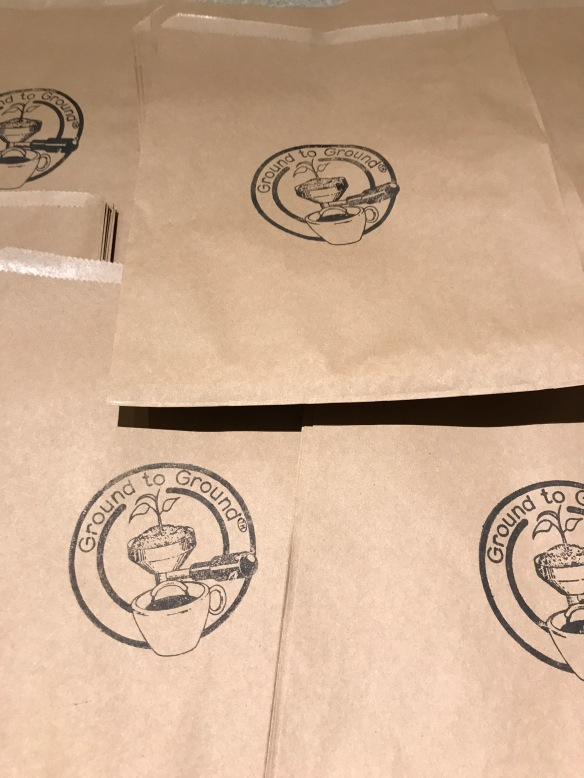 Paper bag to give spent coffee grounds