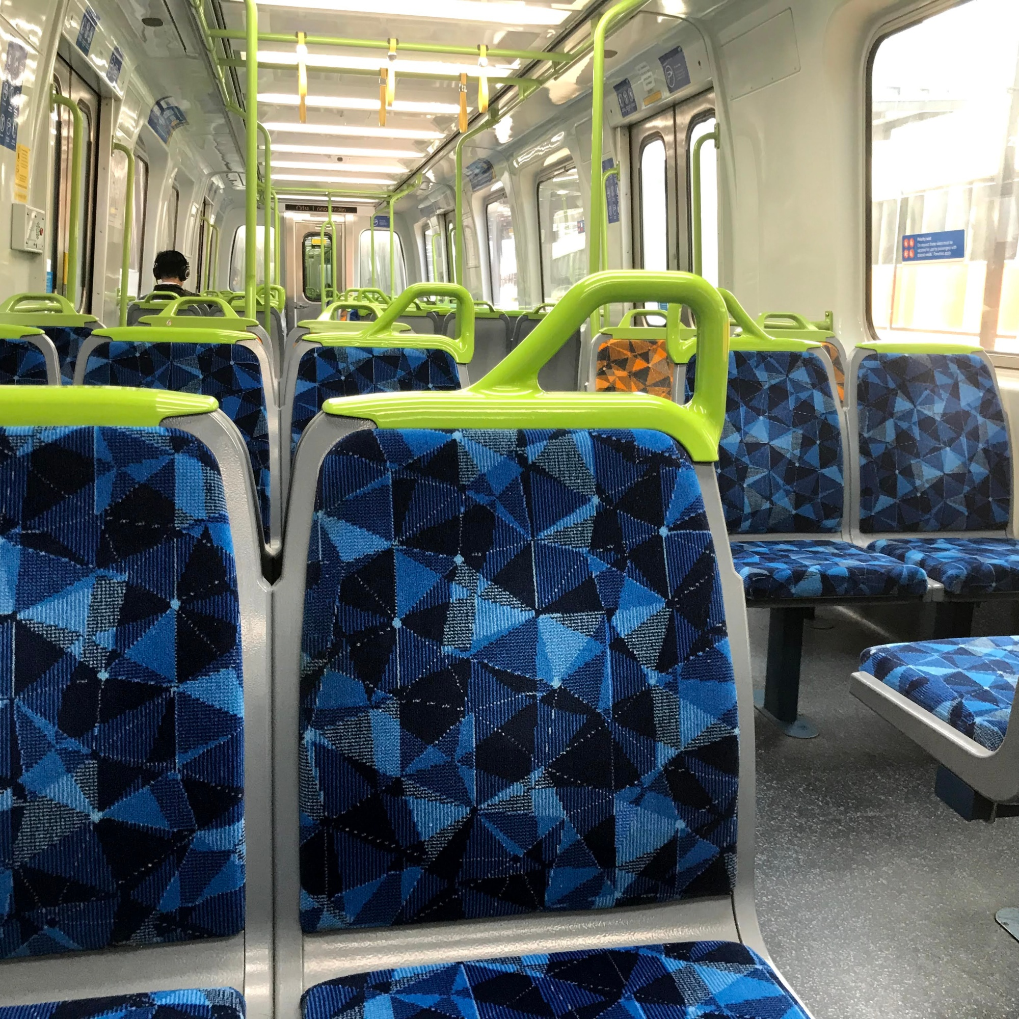 empty train carriage during Melbourne pandemic